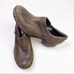 Merrell Luxe Clog Espresso Brown Distressed Shoes
